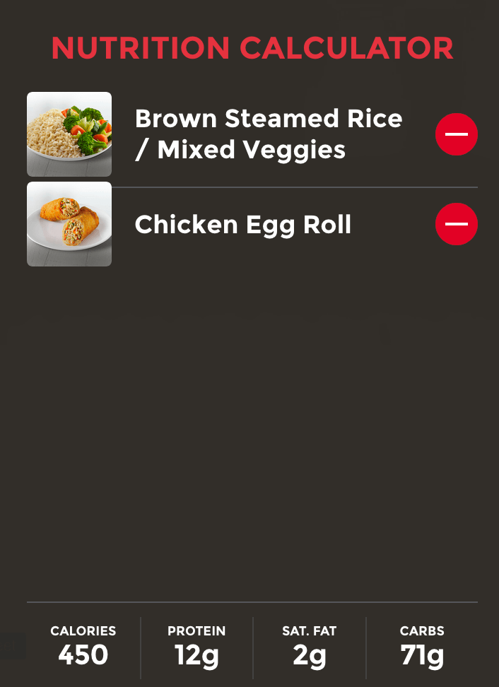Nutrition Calculator information from Panda Express meal of brown steamed rice, mixed veggies, and chicken egg roll