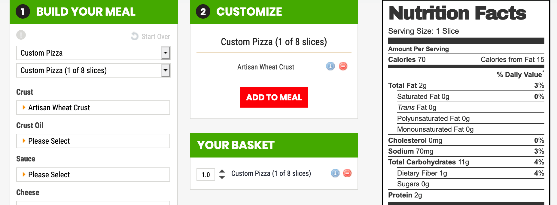 Pieology offers a nutrition calculator that allows you to compare different crusts. Here is the nutrition information for the wheat crust.