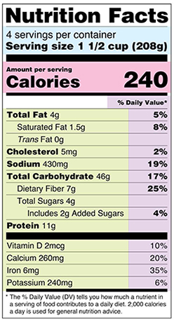 When checking the nutrition facts, look for the fiber content under total carbohydrates.