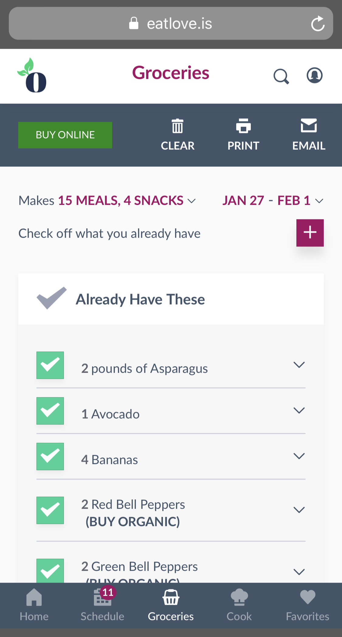 Bring up the grocery list from your phone and check off as you shop!